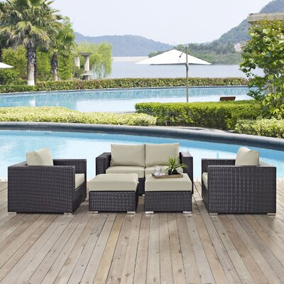 Ryele Outdoor 5 Piece Patio Seating Group with Cushions Fabric: Beige