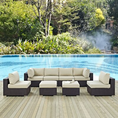 Ryele 8 Piece Aluminum Frame Outdoor Patio Sectional Set with Cushions Fabric: Espresso Beige