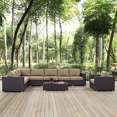 Ryele Outdoor 7 Piece Rattan Patio Seating Group with Cushions Fabric: Mocha