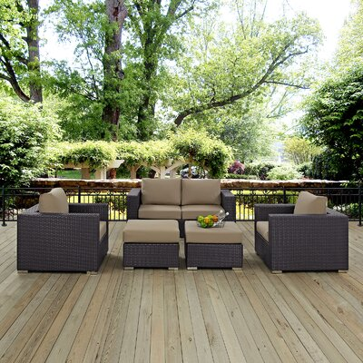 Ryele Outdoor 5 Piece Patio Seating Group with Cushions Fabric: Mocha
