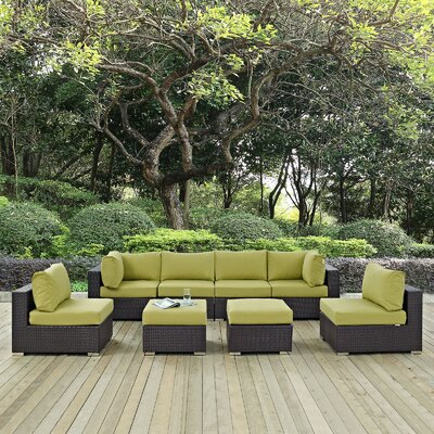 Ryele 8 Piece Aluminum Frame Outdoor Patio Sectional Set with Cushions Fabric: Espresso Peridot