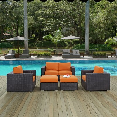 Ryele Outdoor 5 Piece Patio Seating Group with Cushions Fabric: Orange