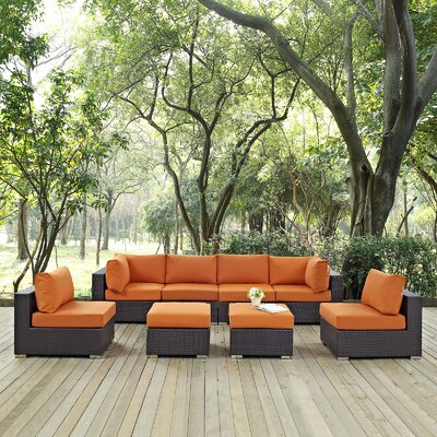 Ryele 8 Piece Aluminum Frame Outdoor Patio Sectional Set with Cushions Fabric: Espresso Orange