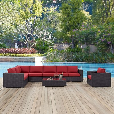 Ryele Outdoor 7 Piece Rattan Patio Seating Group with Cushions Fabric: Red