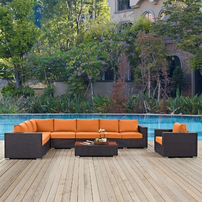 Ryele Outdoor 7 Piece Rattan Patio Seating Group with Cushions Fabric: Orange
