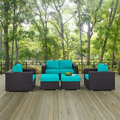 Ryele Outdoor 5 Piece Patio Seating Group with Cushions Fabric: Turquoise