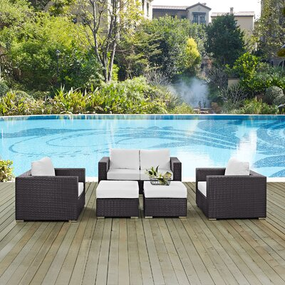 Ryele Outdoor 5 Piece Patio Seating Group with Cushions Fabric: White
