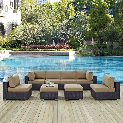 Convene 8 Piece Outdoor Patio Sectional Set with Cushions Fabric: Espresso Mocha