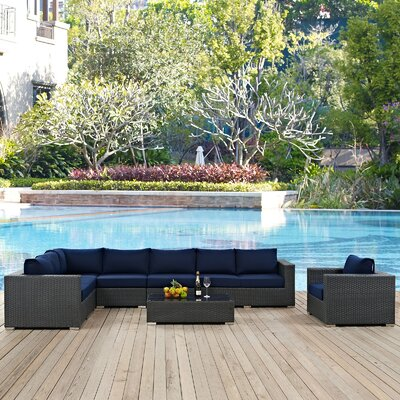 Sojourn Outdoor Sunbrella� 7 Piece Patio Seating Group with Cushions Fabric: Navy