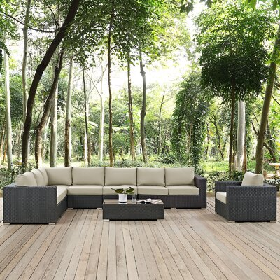 Sojourn Outdoor Sunbrella 7 Piece Patio Seating Group with Cushions Fabric: Beige