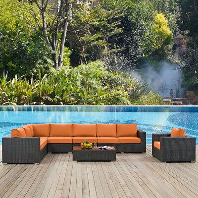 Sojourn Outdoor Sunbrella 7 Piece Patio Seating Group with Cushions Fabric: Tuscan