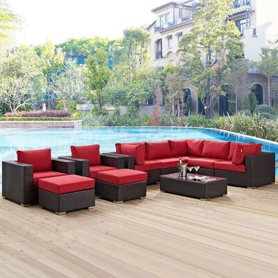 Ryele 10 Piece Deep Seating Group with Cushion Fabric: Red