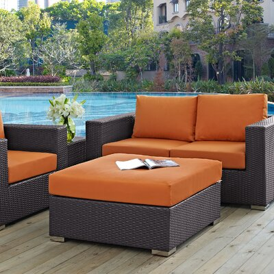 Convene Ottoman with Cushion Fabric: Orange