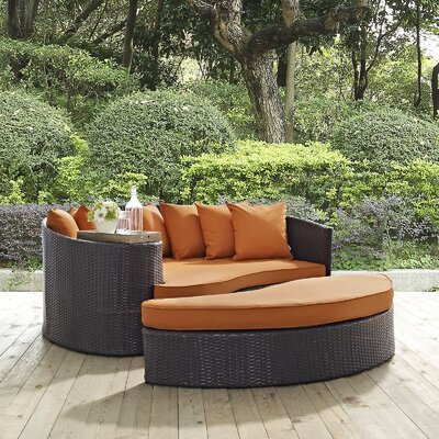 Ryele Outdoor Patio Daybed with Cushions Fabric: Espresso Orange