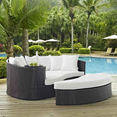 Ryele Outdoor Patio Daybed with Cushions Fabric: Espresso White