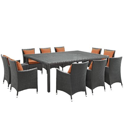 Sojourn 11 Piece Dinning Set with Cushions Cushion Color: Tuscan