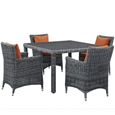 Summon 5 Piece Dinning Set with Cushions Cushion Color: Tuscan