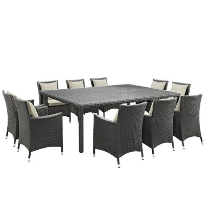 Sojourn 11 Piece Dinning Set with Cushions Cushion Color: Beige