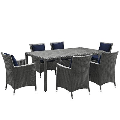 Sojourn 7 Piece Sunbrella Dinning Set with Cushions Cushion Color: Navy