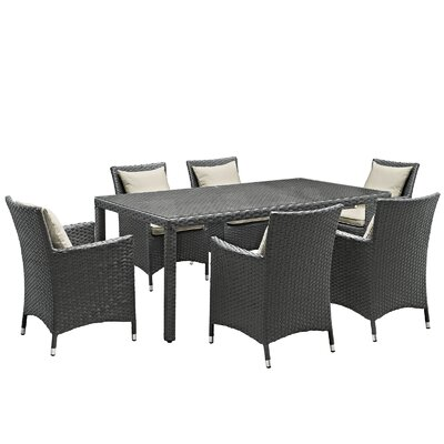 Sojourn 7 Piece Sunbrella Dinning Set with Cushions Cushion Color: Beige