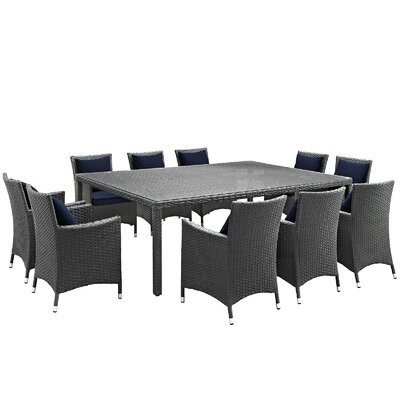 Sojourn 11 Piece Dinning Set with Cushions Cushion Color: Navy
