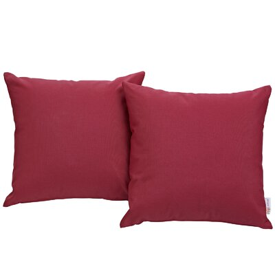 Ryele Outdoor Throw Pillow Color: Red