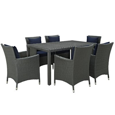 Sojourn 7 Piece Dinning Set with Cushions Cushion Color: Navy