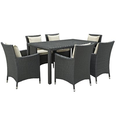 Sojourn 7 Piece Dinning Set with Cushions Cushion Color: Beige