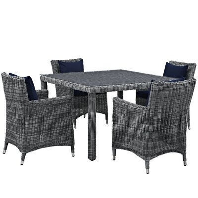 Summon 5 Piece Dinning Set with Cushions Cushion Color: Navy