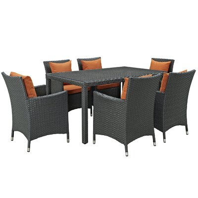 Sojourn 7 Piece Dinning Set with Cushions Cushion Color: Tuscan