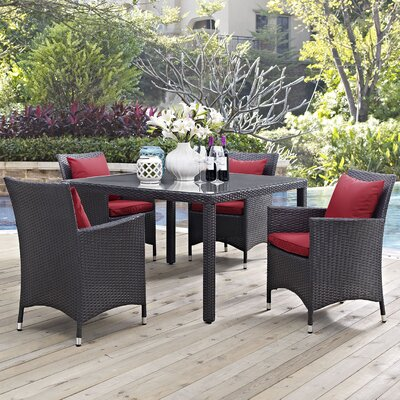 Ryele 5 Piece Dining Set Finish: Red