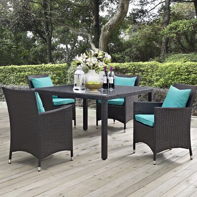 Ryele 5 Piece Dining Set Finish: Turquoise