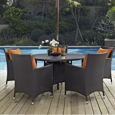 Ryele 7 Piece Dining Set with Cushions Cushion Color: Orange