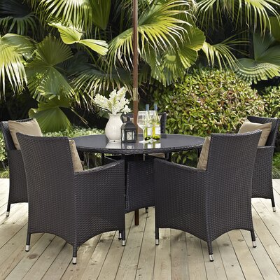 Ryele 7 Piece Dining Set with Cushions Cushion Color: Mocha