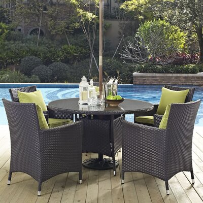 Ryele 7 Piece Dining Set with Cushions Cushion Color: Peridot