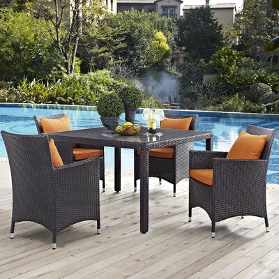 Ryele 5 Piece Dining Set Finish: Orange