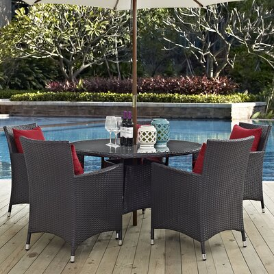 Convene 7 Piece Dining Set with Cushions Cushion Color: Red