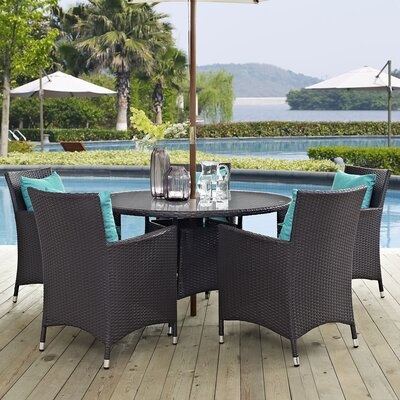 Ryele 7 Piece Dining Set with Cushions Cushion Color: Turquoise