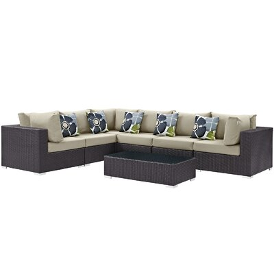 Ryele 7 Piece Rattan Deep Seating Group Fabric: Beige