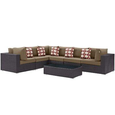 Ryele 7 Piece Rattan Deep Seating Group Fabric: Mocha