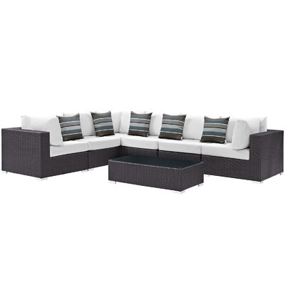 Ryele 7 Piece Rattan Deep Seating Group Fabric: White
