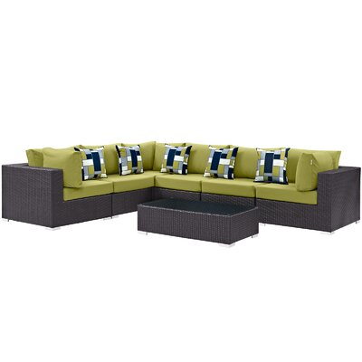 Ryele 7 Piece Rattan Deep Seating Group Fabric: Peridot