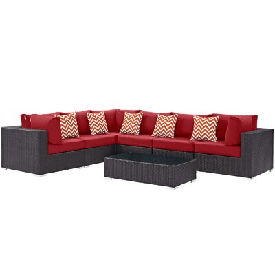 Convene 7 Piece Deep Seating Group Fabric: Red