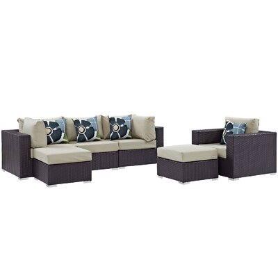 Ryele 6 Piece Deep Seating Group Fabric: Beige