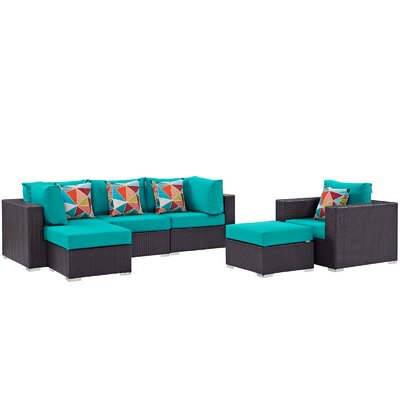 Ryele 6 Piece Deep Seating Group Fabric: Turquoise