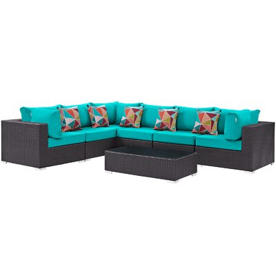 Ryele 7 Piece Rattan Deep Seating Group Fabric: Turquoise