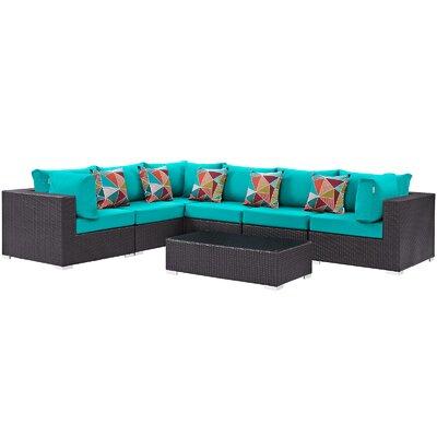 Ryele 7 Piece Rattan Deep Seating Group Fabric: Turquoise