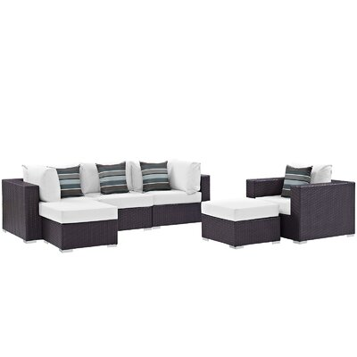 Ryele 6 Piece Deep Seating Group Fabric: White