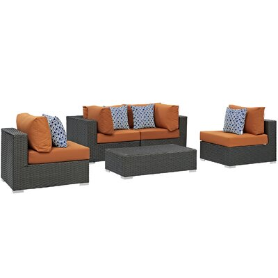 Sojourn 5 Piece Deep Seating Group Fabric: Tuscan
