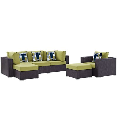 Ryele 6 Piece Deep Seating Group Fabric: Peridot